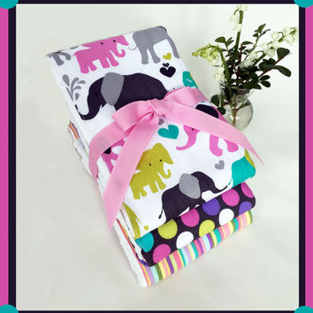 Elephants on Diaper Burp Cloth Gift Set for Baby Girl in Purple Pink Grey and Aqua, Baby Diaper Bag Baby Care Accessory