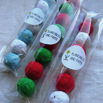 READY TO SHIP- Stocking Stuffer Wildflower Seed Bomb Favor in clear cello sleeve- choice of 3 color options