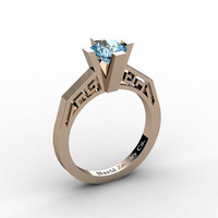 Modern Classic 14K Rose Gold 1.0 Carat Blue Topaz Bridal Solitaire Wedding Ring Engagement Ring R1024-14KRGBT