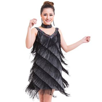 Women Beaded Deep V Neck Gatsby Fringe Flapper Party Dress Sexy Salsa Rumba Samba Jazz Latin Dance Dress With Choker