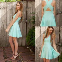 women fashion Sexy backless halter dress blue color skirt  day dress prom dress = 1955578692