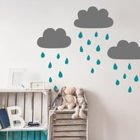 Cloud and Raindrop Wall Decals - Nursery Decal, Cloud Decals, Kids Room Decal, Raincloud Decal, Nursery Wall Decor, Cute Wall Sticker