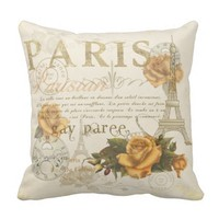 KRW Vintage Style Paris Roses and Eiffel Tower Pillow