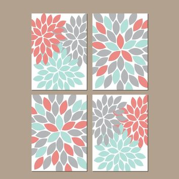 Flower Wall Art, Coral Aqua Gray Nursery Decor, CANVAS or Prints, Flower Bedroom Wall Decor, Coral Aqua Bathroom Decor, Set of 4 Wall Art
