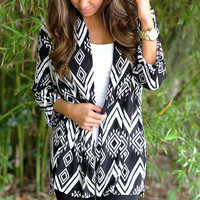 Draped In Diamonds Cardigan: Black/White | Hope's