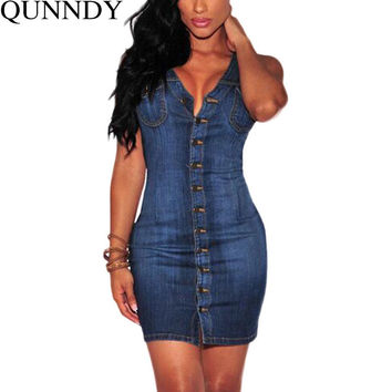 Plus Size Women Clothing 2016 Denim Dress Vintage Summer Sleeveless Slim Sexy Bodycon Casual Jeans Party Club Dresses Vestidos
