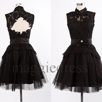 Custom Black Lace Short Prom Dresess Backless Evening Dresees Formal Party Dresses Wedding Party Dress Homecoming Dresses Cocktail Dresses
