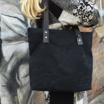 Waxed Canvas Bag,Black Canvas Tote,Zippered Canvas Tote,Leather Strap Tote,Water Resist Tote,Black Canvas Tote Bag,Everday Tote Bag