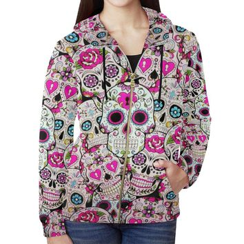 Sugar Skull Design 2 Women's All Over Print Full Zip Hoodie