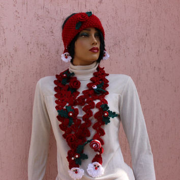 Red Christmas Scarf Knit Lariat Scarf Christmas Necklace Crcohe tJewelery Set EXPRESS SHIPPING