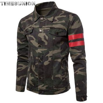 Men Denim Jacket Men's Army green Solid Jackets Stretch Fashion Male Jacket Turn-down Collar Cotton Casual Homme Outwear