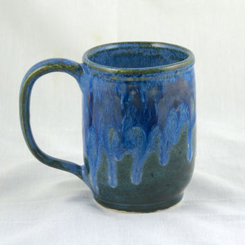 Big Blue Green Coffee Mug with drippy blue glaze- hand thrown, stoneware, pottery blue green purple