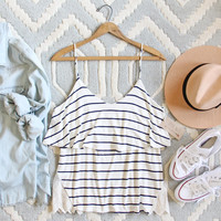 The Boyfriend Stripe Tank in Navy