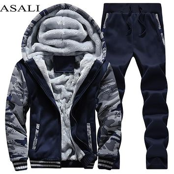 Men Sporting Fleece Thick Hooded Clothing Casual Track Suit Men Jacket Pant Warm Fur Inside Winter Sweatshirt