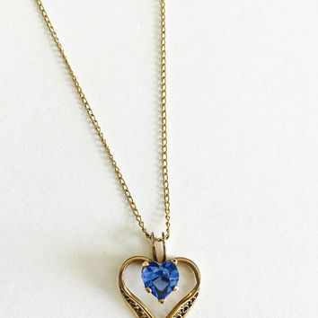 "Sparkling Filigree Heart with Heart Shaped Faux Sapphire or Blue CZ on 18"" Chain Necklace Pendant Choker,  September Birthstone"