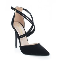 Urth Black By Shoe Republic, D'Orsay Strappy Stiletto High Heel Sandals