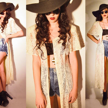 90's GRUNGE Cream Long  lace dress / duster
