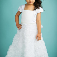 White Organza Ribbon Flowers & Matte Satin Dress with Pleated Cap Sleeves (Girls Sizes 2T - 14)