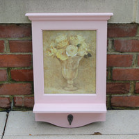 Pink floral entryway shelf with hook - Framed artwork, wood shelf, pink decor, flower decor, key hanger