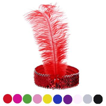 10 Colors feathers Hair Accessories Hair Band New Headband Headpiece Women Flapper Feather Headband Vintage Gatsby Party Hairban