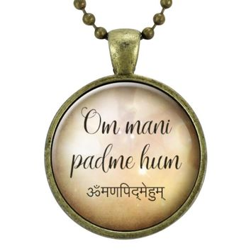 Om Mani Padme Hum Sanskrit Mantra Necklace, Meditation Jewelry,Yoga Pendant, Buddhism Accessory
