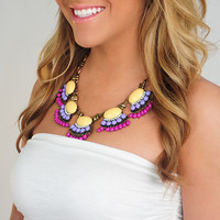 Simply Adoring Necklace: Peach/Purple