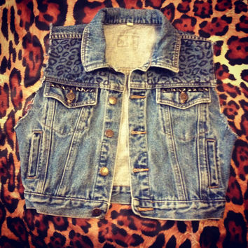 Leopard Studded Cropped Denim Vest by MOLLICZ on Etsy