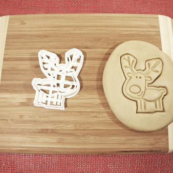 Christmas Rudolph Reindeer Cookie Cutter Gingerbread Mold Biscuit Cake Fondant