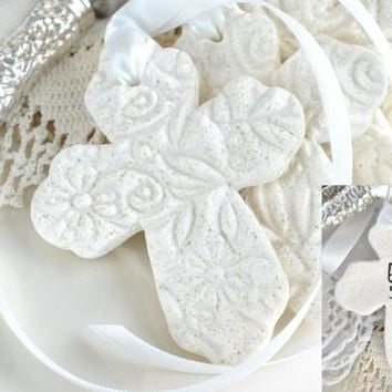 Personalized Imprinted Cross with Ribbon Baptism Favors Set of 10 Salt Dough Napkin Ring / Tie Ornaments