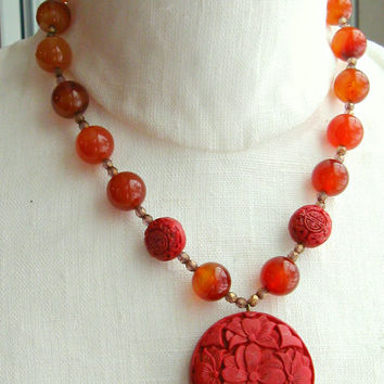 KJL Kenneth J Lane Asian Carved Czech Bead Red Pendant Necklace