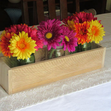 Reclaimed Unfinished Pallet Wood Planter Box • Mason Jar Centerpiece, Long wood box, Candle Holder, Wedding Centerpiece • 18 inches long
