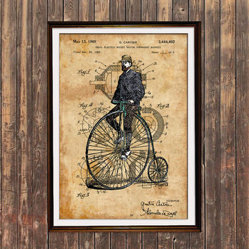 Steampunk poster Bicycle print Patent print Antique decor SOL159