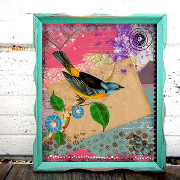 Blue Bird Fine Art Print - 8x10 Colorful Art  - Mixed Media Collage - Painting