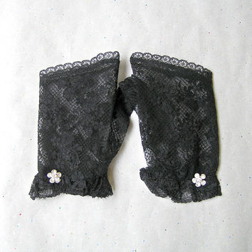 Black Lace Gloves, Fingerless Gloves, Black Gloves, Costume Accessories, Lace Armwarmers, Gloves with Rhinestone Jewelry