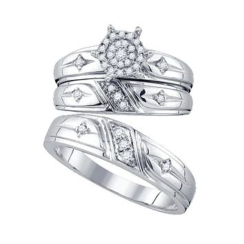 10kt White Gold His & Hers Round Diamond Cross Cluster Matching Bridal Wedding Ring Set 1/4 Cttw