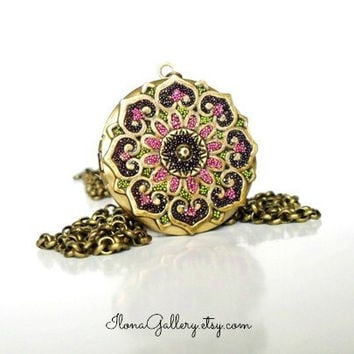 Round Brass Locket-Pink Pendant-Filigree Flower Locket-Pink Floral Decorated Locket-Necklace Ornate Locket-Wedding Gift-Anniversary Gift