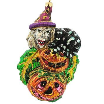 Larry Fraga Witch's Scream Halloween Glass Ornament