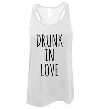 Custom Ink Colors, Drunk In Love, Flowy Racerback, Bachelorette Party Tank Top, Bridal Party Tank Top, Bridal Top, Wedding Top
