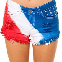 Reverse Shorts Tie Dye Americana in Red White and Blue