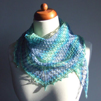 summer cotton scarf, blue lime green, knitted triangle lace shawlette, ready to ship