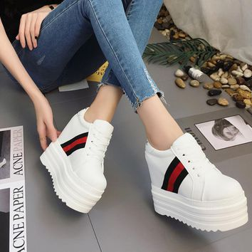 Women's Gucci Casual Platform Wedge Sneakers Increases Fashion Shoes