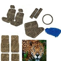 New Premium Grade 16 pieces Brown Cheetah Interior Seat Cover set With Front Low Back Seat Covers, Rear Bench Seat Cover 4 Pieces Tan Cheeta Floor Mat set WITH FREE Microfiber WASH MITT