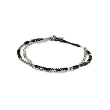2 Layer Black Spinal with Mini Silver Beads Bracelet - M. Cohen
