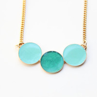 Mint and turquoise circles Gold Necklace by TheUrbanLady on Etsy