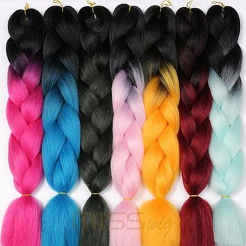 MISS WIG Ombre Kanekalon Braiding Hair Extensions 24inch 100g Synthetic Jumbo Braids Hair Fiber Pink Purple Blue Green 1pce