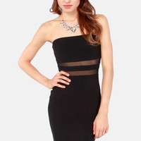Curve Your Enthusiasm Black Bodycon Dress