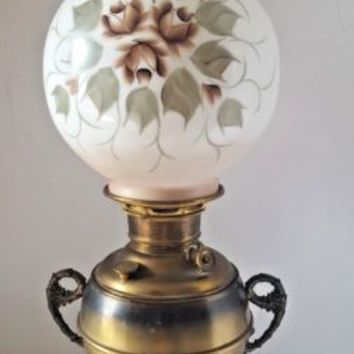 Antique Miller Juno Brass Trophy Oil Parlor Lamp 925 Hand Painted Globe Shade