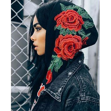 Embroidered Rose Black Hoodie