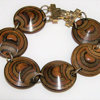 Layered Wood Round Disk Bracelet, Linked Wooden Disks, Gold Tone Fold Over Clasp, Mid Century Jewelry 218