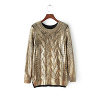 Gold Gilding Knitted Pullover Shirt